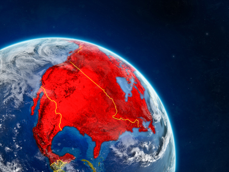 NAFTA member states from space on realistic model of planet Earth with country borders and detailed planet surface and clouds. 3D illustration. Фото со стока