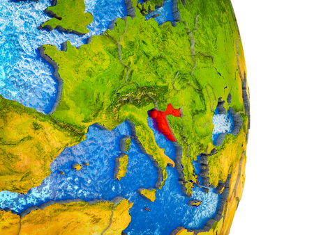 Croatia on 3D model of Earth with divided countries and blue oceans. 3D illustration.