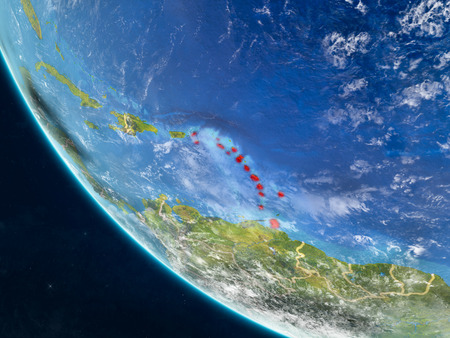 Caribbean on planet Earth from space with country borders. Very fine detail of planet surface and clouds. 3D illustration. Stock Photo