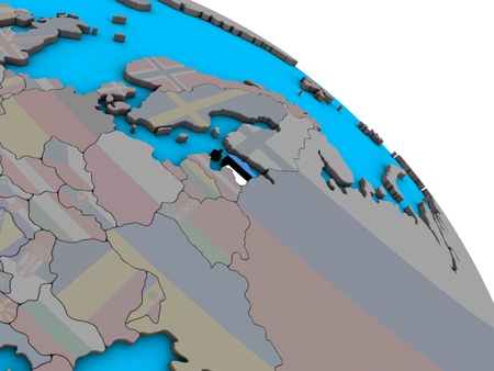 Estonia with embedded national flag on simple blue political 3D globe. 3D illustration. 写真素材