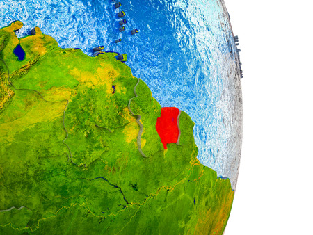 Suriname on 3D model of Earth with divided countries and blue oceans. 3D illustration. Stock Photo