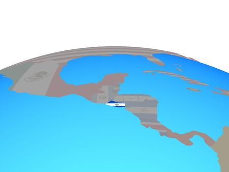 El Salvador with national flag on political globe. 3D illustration.