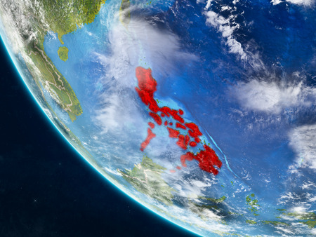 Philippines on planet Earth from space with country borders. Very fine detail of planet surface and clouds. 3D illustration. Stock Photo
