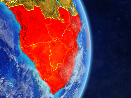 Southern Africa on planet planet Earth with country borders. Extremely detailed planet surface and clouds. 3D illustration.