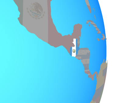 Guatemala with national flag on simple political globe. 3D illustration.