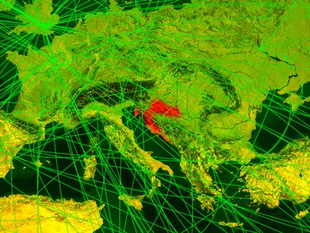 Croatia on digital map with networks. Concept of international travel, communication and technology. 3D illustration.