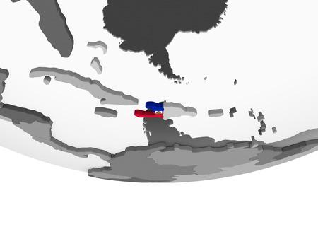 Haiti on gray political globe with embedded flag. 3D illustration.