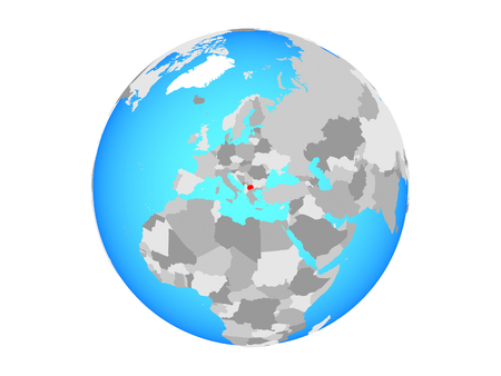 Macedonia on blue political globe. 3D illustration isolated on white background. Stockfoto - 112488292