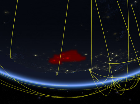 Burkina Faso on model of planet Earth at night with network representing travel and communication. 3D illustration. Stock Photo