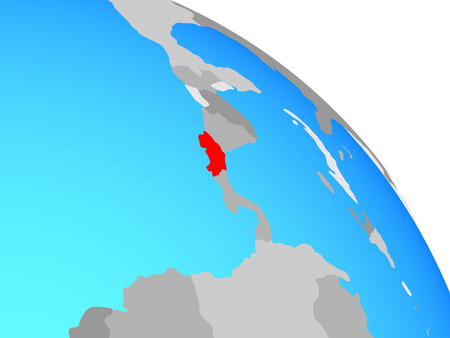 Costa Rica on simple blue political globe. 3D illustration.