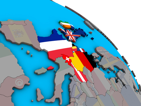 Western Europe with embedded national flags on simple blue political 3D globe. 3D illustration.