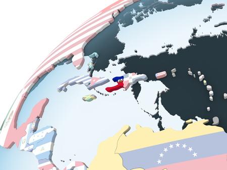 Haiti on bright political globe with embedded flag. 3D illustration. Stock Photo