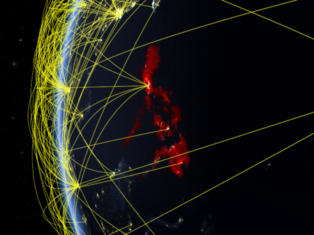 Philippines from space on model of Earth at night with international network. Concept of digital communication or travel. 3D illustration. Stock Photo
