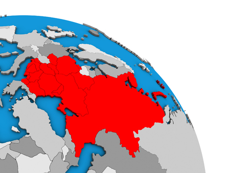 Eastern Europe on simple blue political 3D globe. 3D illustration.