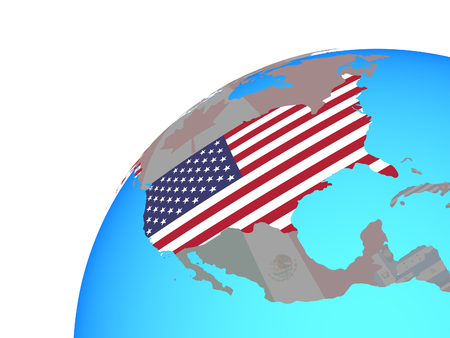 USA with embedded national flag on globe. 3D illustration. Stock Photo
