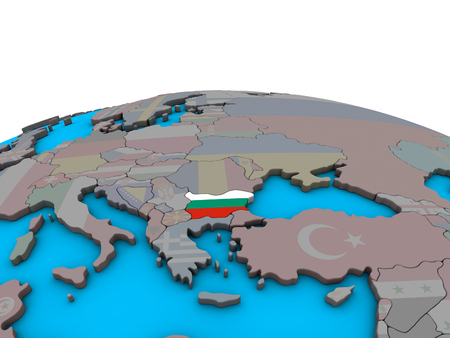 Bulgaria with embedded national flag on political 3D globe. 3D illustration. Stock Photo