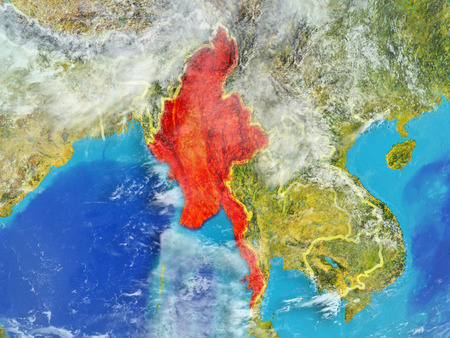 Myanmar from space on model of planet Earth with country borders. Extremely fine detail of planet surface and clouds. 3D illustration.