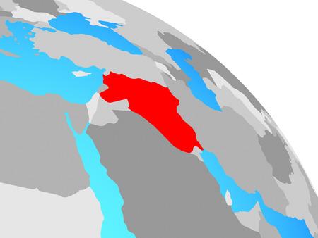 Islamic State on simple blue political globe. 3D illustration. Stock Photo