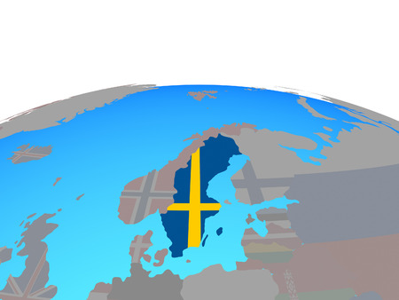 Sweden with national flag on political globe. 3D illustration.