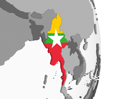 Myanmar on gray political globe with embedded flag. 3D illustration.