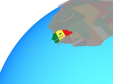 Senegal with embedded national flag on globe. 3D illustration.