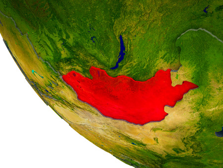 Mongolia on model of Earth with country borders and blue oceans with waves. 3D illustration.