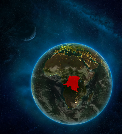 Dem Rep of Congo from space on Earth at night surrounded by space with Moon and Milky Way. Detailed planet with city lights and clouds. 3D illustration.