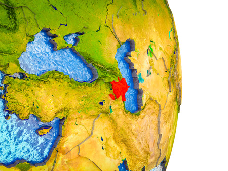 Azerbaijan on 3D model of Earth with divided countries and blue oceans. 3D illustration. Stockfoto