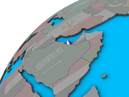 Qatar with national flag on 3D globe. 3D illustration. Stock Photo
