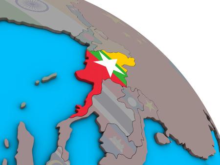 Myanmar with embedded national flag on simple blue political 3D globe. 3D illustration.
