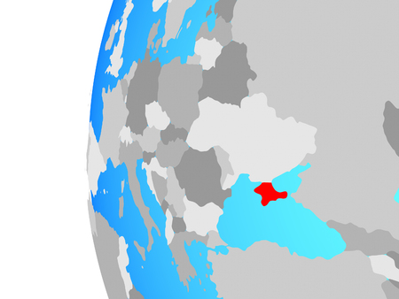 Crimea on blue political globe. 3D illustration.