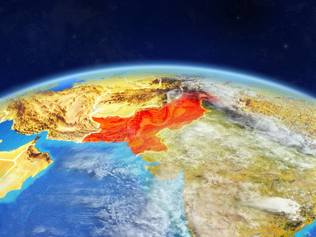 Pakistan on planet Earth with country borders and highly detailed planet surface and clouds. 3D illustration. Imagens