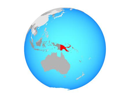 Papua New Guinea on blue political globe. 3D illustration isolated on white background.