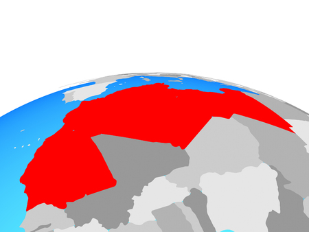 Maghreb region on political globe. 3D illustration.