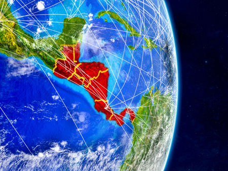 Central America on planet Earth with networks. Extremely detailed planet surface and clouds. 3D illustration. Imagens