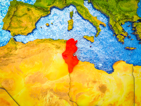 Tunisia on model of 3D Earth with blue oceans and divided countries. 3D illustration. 스톡 콘텐츠
