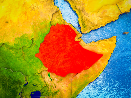 Ethiopia on model of 3D Earth with blue oceans and divided countries. 3D illustration. Banque d'images - 112488940