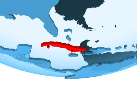 Illustration of Cuba highlighted in red on blue globe with transparent oceans. 3D illustration.
