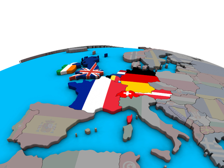 Western Europe with embedded national flags on political 3D globe. 3D illustration. Banco de Imagens