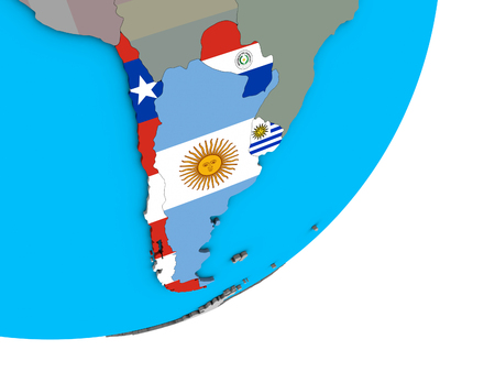 Southern Cone with national flags on blue political 3D globe. 3D illustration. Imagens