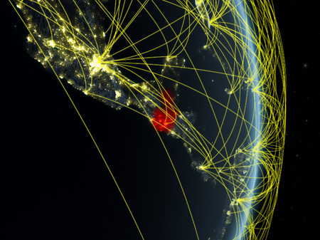 Guatemala at night on planet planet Earth with network. Concept of connectivity, travel and communication. 3D illustration.