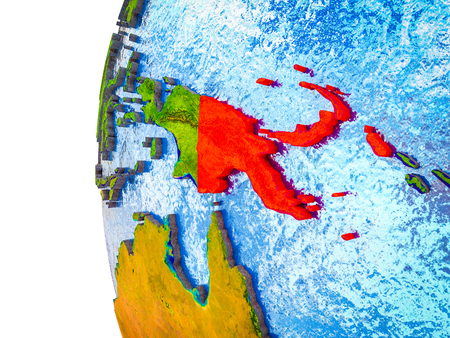 Papua New Guinea highlighted on 3D Earth with visible countries and watery oceans. 3D illustration. Stock Illustration - 112489019