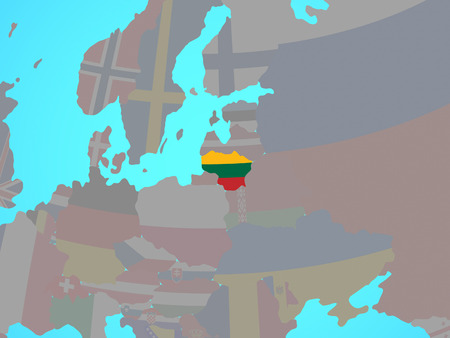 Lithuania with national flag on blue political globe. 3D illustration.