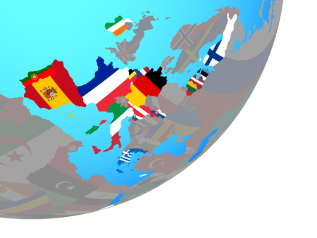 Eurozone member states with embedded national flags on blue political globe. 3D illustration.