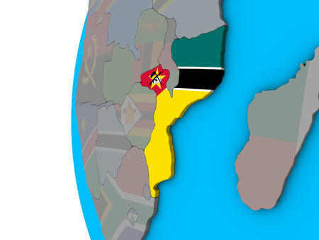 Mozambique with national flag on blue political 3D globe. 3D illustration. Standard-Bild - 112489156