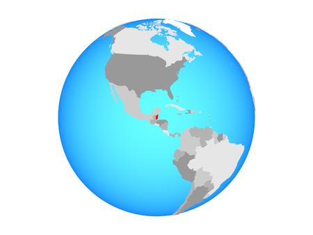 Belize on blue political globe. 3D illustration isolated on white background.