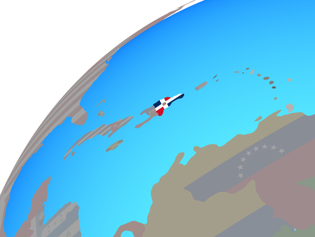 Dominican Republic with embedded national flag on globe. 3D illustration. Imagens