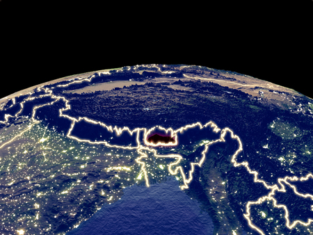 Bhutan from space on planet Earth at night with bright city lights. Detailed plastic planet surface with real mountains. 3D illustration.