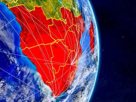 Southern Africa on planet Earth with networks. Extremely detailed planet surface and clouds. 3D illustration.