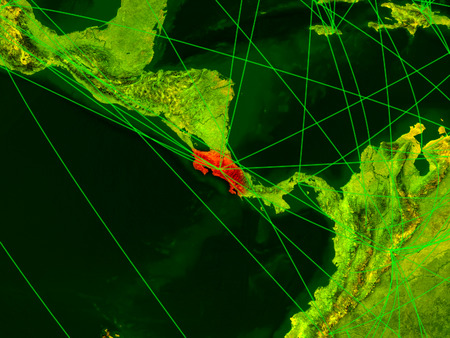 Costa Rica on digital map with networks. Concept of international travel, communication and technology. 3D illustration.